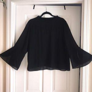 ZARA | black chiffon bell sleeve blouse